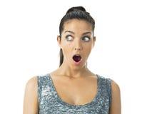 Expressão real da jovem mulher foto de stock
