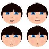 Expressões da cara da criança Imagens de Stock