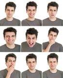 Expressões da cara do homem Imagem de Stock Royalty Free