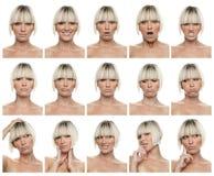 Expressões da mulher Fotografia de Stock Royalty Free
