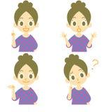 Expressões 01 da mulher ilustração royalty free