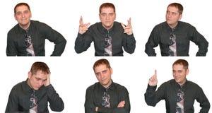 Expressões de um homem de negócio Imagens de Stock