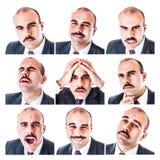 Expressões do homem de negócios imagens de stock royalty free