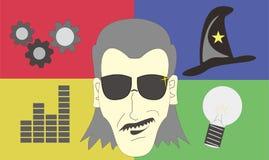 Expressões espertas dos povos da cara do gênio ilustração stock