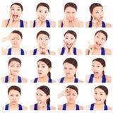Expressões faciais da jovem mulher asiática Fotografia de Stock Royalty Free