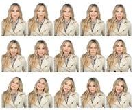 Expressões faciais da mulher fotografia de stock