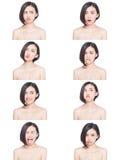 Expressões faciais da mulher chinesa imagens de stock