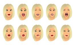 Expressões faciais das mulheres, gestos, alegria da surpresa do medo da decepção do êxtase da tristeza da aversão da surpresa da  ilustração stock