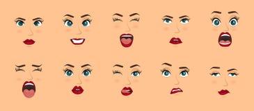 Expressões faciais das mulheres, gestos, alegria da surpresa do medo da decepção do êxtase da tristeza da aversão da surpresa da  ilustração royalty free