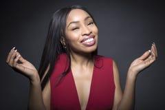 Expressões faciais despreocupadas fêmeas pretas imagem de stock