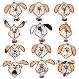 Expressões faciais do cão dos desenhos animados Fotografia de Stock