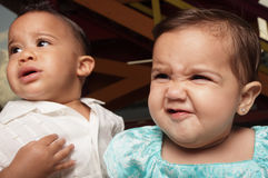 Expressões faciais dos bebês Fotografia de Stock