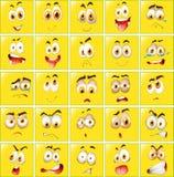 Expressões faciais em crachás amarelos Fotos de Stock Royalty Free