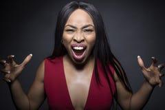 Expressões irritadas fêmeas pretas imagem de stock royalty free