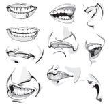 Expressões masculinos de uma cara do ` s do homem ilustração stock