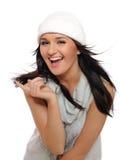 Expressões. Menina bonita do inverno em um chapéu fotografia de stock royalty free