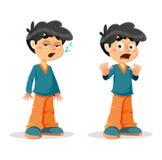 Expressões novas chocadas sonolentos do menino Imagem de Stock Royalty Free