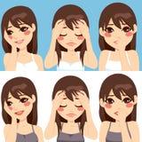 Expressões preocupadas mulher Fotografia de Stock