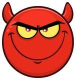 Expressões vermelhas de sorriso de Smiley Face Character With Evil dos desenhos animados Fotos de Stock Royalty Free