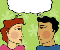 Express Affection. Man and woman looking at eachother, thinking the same thing Royalty Free Illustration
