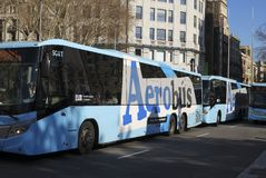 Airport buses in city centre. Barcelona. Spain Stock Images