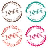Express badge isolated on white background. Flat style round label with text. Circular emblem vector illustration Royalty Free Stock Photos