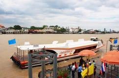 Express boat Bangkok. People waiting for boat. Chao Phraya Express boat at Wang Lung Bangkok, Thailand Royalty Free Stock Photography