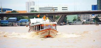 Express boat Bangkok. Chao Phraya Express boat in Chao Phraya river, Bangkok, Thailand Stock Photos