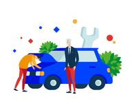 Express car repairs. A person looks under the hood in the engine compartment of the car. royalty free illustration