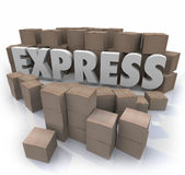 Express 3d Word Cardboard Boxes Expedited Fast Delivery Service Stock Images