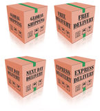 Express delivery carboard box package. Express delivery free shipping express sending speed parcel posting cardboard box package shipment ship order vector illustration