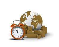 Express delivery with clock boxes. And globe Royalty Free Stock Image