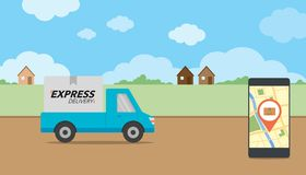 Express delivery concept. Checking delivery service app  Royalty Free Stock Images