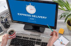 Express delivery concept on a computer. Screen Stock Image