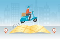 Express delivery concept. Fast and free worldwide shipping. Vector illustration. Express delivery concept. Delivery man ride scooter motorcycle jumping over the Royalty Free Stock Images