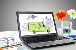 Express delivery concept on a laptop screen. Laptop screen showing express delivery concept royalty free stock photos