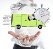 Express delivery concept levitating above a hand Stock Images