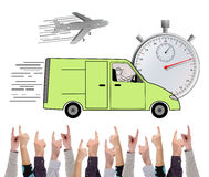 Express delivery concept pointed by several fingers Royalty Free Stock Photography