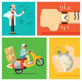Express delivery concept, vector icon set Royalty Free Stock Photo