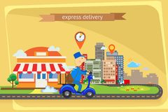 Express delivery flat design Royalty Free Stock Images