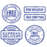 Express delivery and free worldwide shipping - blue stamps. Express delivery and free worldwide shipping - blue grunge stamps stock image