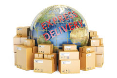 Express delivery and global shipping concept, 3D rendering Stock Images