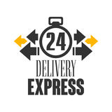 Express delivery 24 hours logo design template, vector Illustration on a white background. Label for stickers, banners, cards, advertisement, tags Stock Image