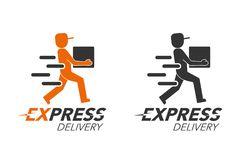 Express delivery icon concept. Delivery man service, order, worl Stock Image