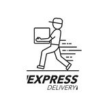 Express delivery icon concept. Delivery man service, order, worl Royalty Free Stock Photos