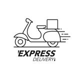 Express delivery icon concept. Scooter motorcycle service, order Stock Image