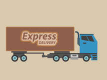 Express delivery. Illustration of a truck on a seamless background with message express delivery written on it stock photos