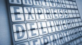 Express delivery information on display board Stock Photo