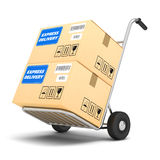Express Delivery packages on a cart Royalty Free Stock Photography