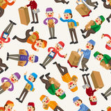 Express delivery people seamless pattern Royalty Free Stock Photo